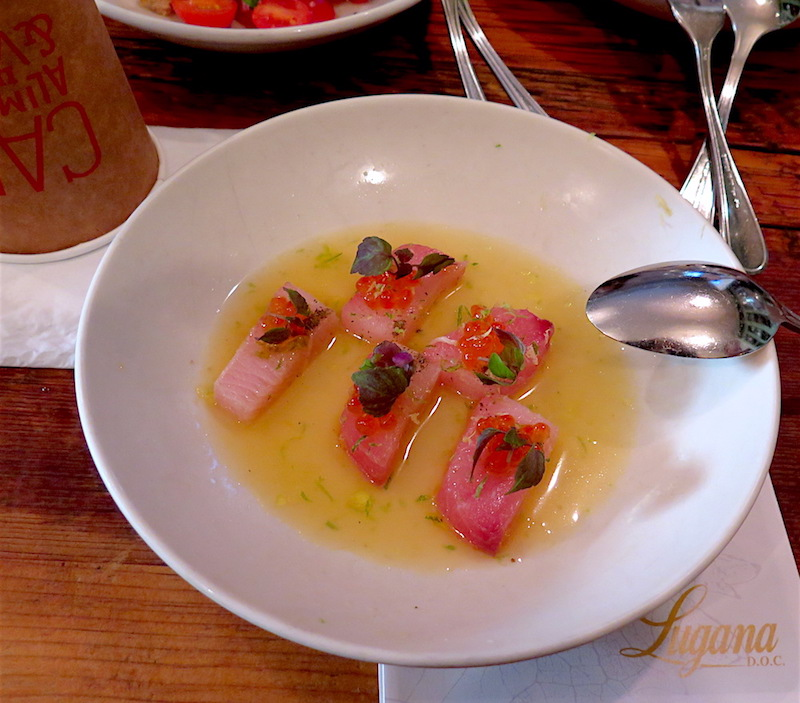 Il Buco's menu featured miso-cured hamachi crudo with capers and trout roe. ©MRNY
