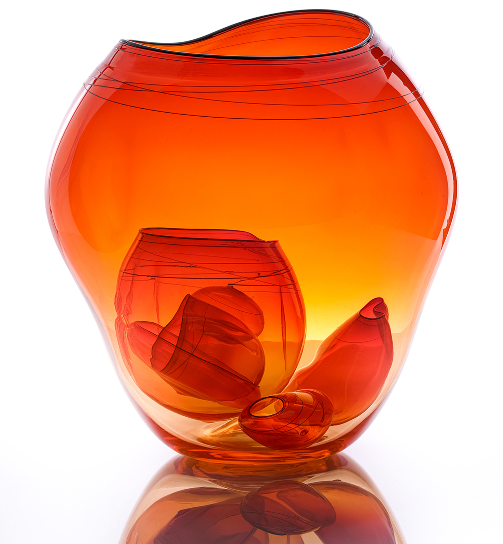"""""""Fire Orange Basket Set"""" by Dale Chihuly, 2013 ©Chihuly"""