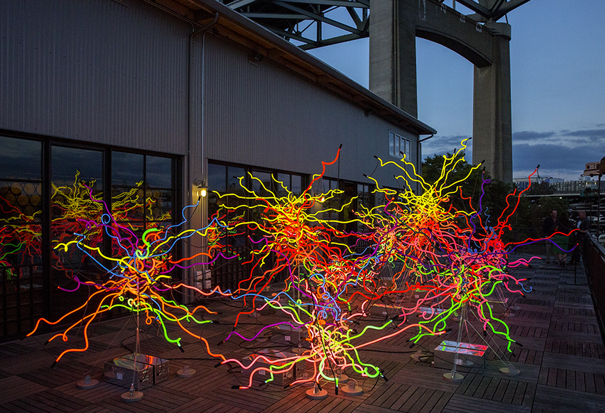 """""""Boathouse 7 Neon"""" by Dale Chihuly, 2016 ©Chihuly at the Boathouse, Seattle"""