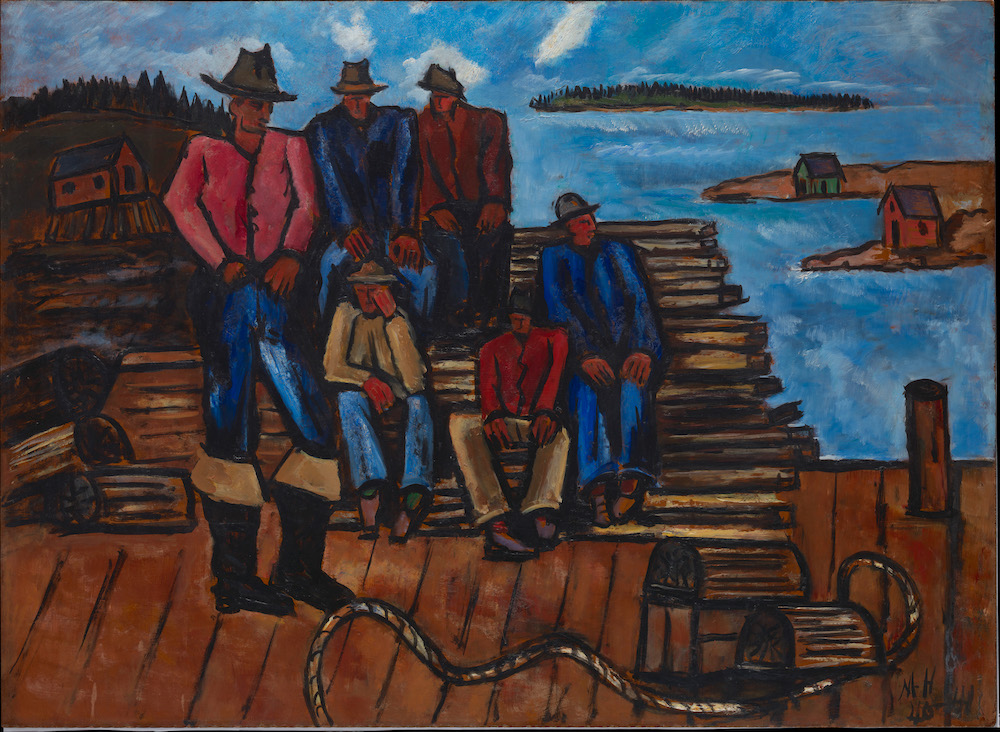 Marsden Hartley (American, 1877-1943) Lobster Fishermen 1940–41 Oil on hardboard (masonite) 29 3/4 x 40 7/8 in. (75.6 x 103.8 cm) The Metropolitan Museum of Art, Arthur Hoppock Hearn Fund